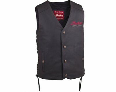 Men's Indian Motorcycle Black Leather Vest 2 -  NWT