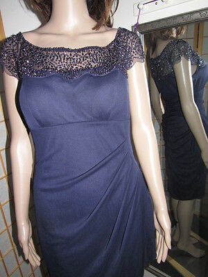 High Quality Lavish Beaded Over Shoulder And Neck Navy Blue Sheer Party Dress M