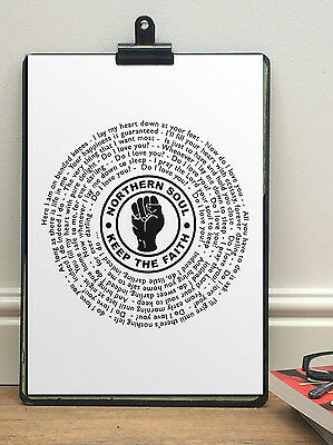 NORTHERN SOUL VINYL RECORD POSTER - Vintage Single - ANY SONG - keep the faith