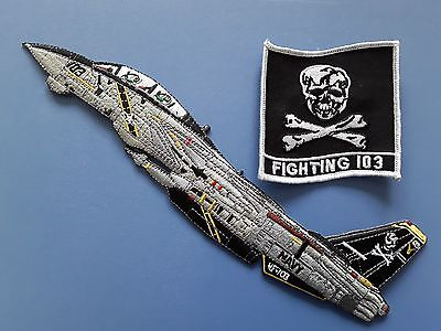 1+1 pc VF103 JOLLY ROGERS+FIGHTING 103 Emb. patch SEW ON.