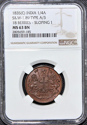 British India 1835 (C) 1/4 Anna S&W 1.89 NGC Graded MS 63 BN