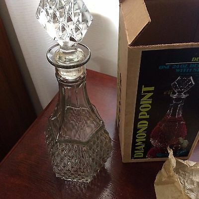 Vintage Crystal Decanter 24oz Diamond Point by Indiana Glass Co