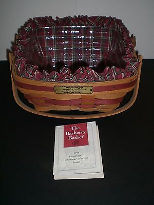 1993 Longaberger Christmas Collection Bayberry Basket with Liner & Protector
