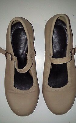 Annara TAP Shoes Girls Size 11.5 Tan Leather ANNARA 11 1/2 Tap Dancing dance