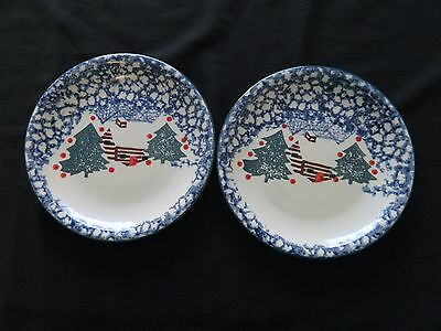 Folk Craft Cabin in the Snow Spongeware Tienshan Two Luncheon Plates Spongecraft