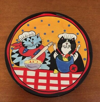 Catzilla Chef Baking & Cooking Cats Plate  By Candace Reiter Handpainted