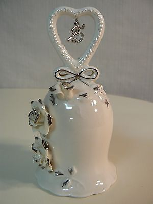 Apple Tree Design IVORY ROSE 25TH ANNIVERSARY BELL #50029 NEW Silver Accents