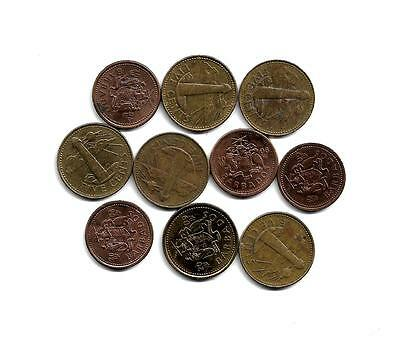 Barbados: Mixed Lot of 10 Barbados Coins from 1998-2009