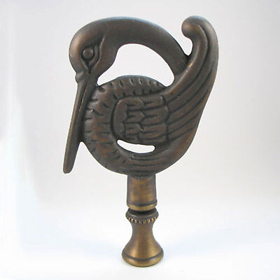 Lamp Finial:  Stork in the Deco Style,  Antiqued Solid Brass, Vintage (J601)