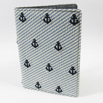 J.CREW Men's Passport Holder Anchor Embroidery on Seersucker Fabric BLUE NWT