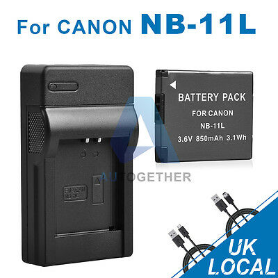 850mAh Battery + USB Charger for Canon NB-11L NB-11LH HS240 A4000 A3500 UK Post