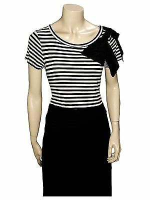 Black & White Stripe Bow Top Great For Dancing - Size 10 - B Grade Condition