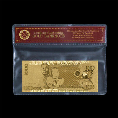 WR Gold Philippines Banknote 1000 Peso Asia Paper Money Collector Business Gifts