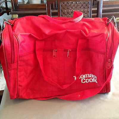 Vintage Thomas Cook Travel Bag Travellers Cheques Red Mastercard Carry-on
