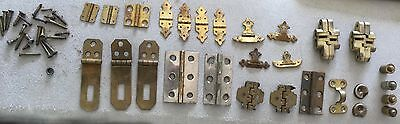 lot of antique and vintage miscellaneous small hinges - box door hardware brass