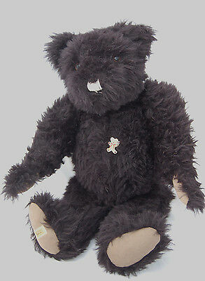 "Vintage Merrythought Big Black Teddy Bear 24"" Jointed Shaggy Antique Style"