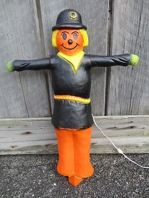 "34"" Union Scarecrow Blow Mold Light Vintage Halloween Decor Rare Fall Yard Decor"