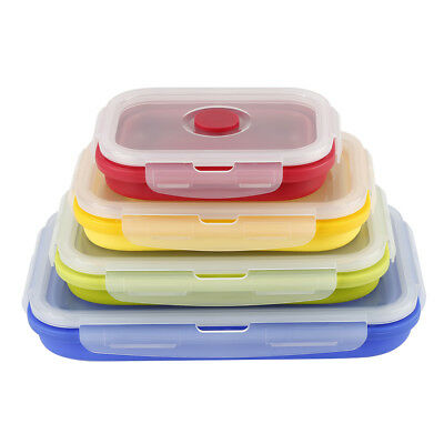 Silicone Collapsible Lunch Boxes Durable Eco-friendly Boxes 4 Colors Popular