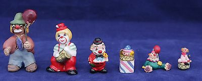 Collection Of 6 Vintage Miniature Clown Figurines