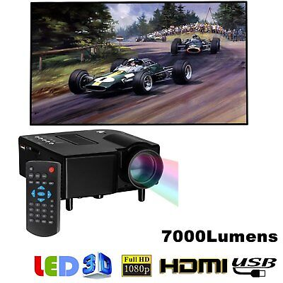 Mini 1080P Full HD LED Projector Home Theater Cinema 3D HDMI VGA Multimedia AU