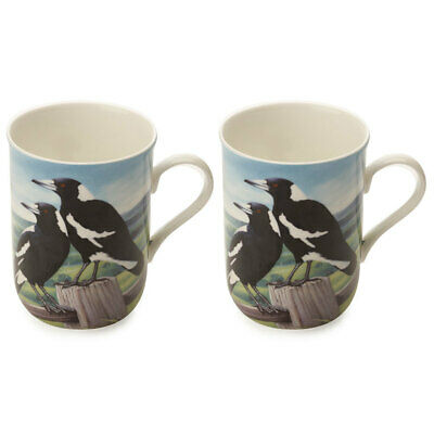 2PK Maxwell and Williams Birds of Australia Coffee/Tea Mug/Cup 300ML Magpies