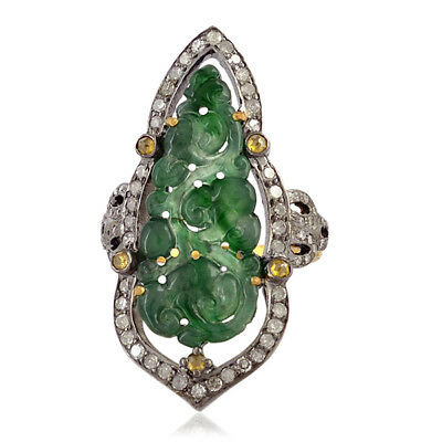 Carved Gemstone Diamond 18K Gold 925 Sterling Silver Long Ring Jewelry