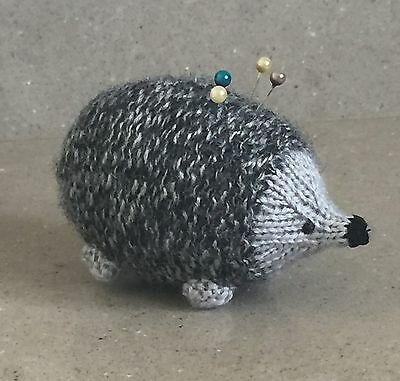 Cute Knitted Hedgehog Pin Cushion (grey)