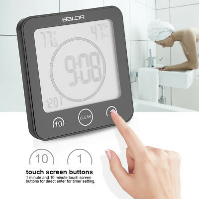 1/10min Bathroom Timer Wall Clock Digital Thermometer Hygrometer w/Suction Cup