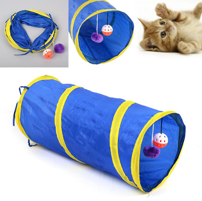 Foldable Pet Tunnel Funny Cat Kitten Gog Rabbits Crinkle With Ring Bell Toy 55cm