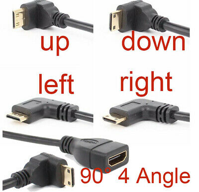 90 Degree Up/Down/Left/Right Angled Mini HDMI Male to HDMI Adapter Female Cable