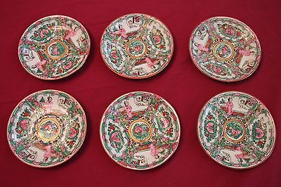 Rare Vintage Chinese Famille Rose Round Saucers, Vibrant Embossings, 5.5 in. dia