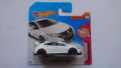 HOT WHEELS 2017 '16 HONDA CIVIC TYPE R 327 short card H THEN AND NOW 1/10 DTW88