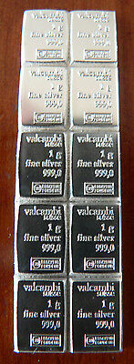10 x 1gm Valcambi Suisse .999 Pure Fine Silver CombiBar FREEPOST with TRACKING