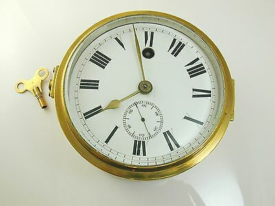 Brass clock antique mechanical key wound ships clock