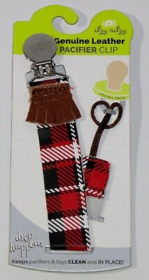 Itzy Ritzy Drop Happens Leather Pacifier Clip (Lumberjack Plaid)