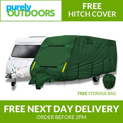 CoverPro Premium Breathable 4-Ply Full Green Caravan Cover - Up To 14ft W341