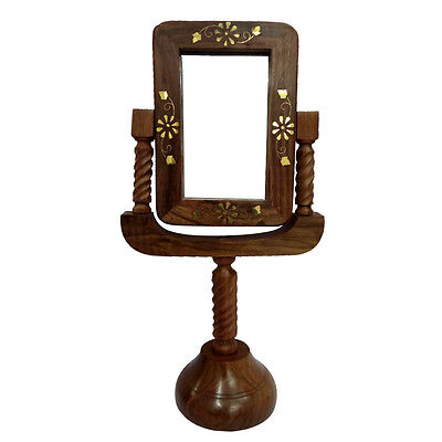 Decorative Vintage Style Antique Wooden Mirror Hand Carved Glass Stand