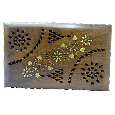 Wood Jewelry Medium Box Brass Floral Design Trunk Engraved Rings/ Watch Cases