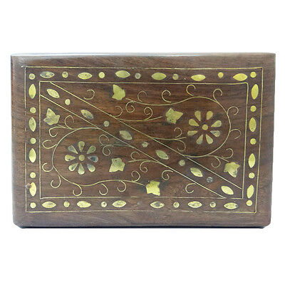 Handcrafted Wood Box Watch/ Earrings Antique Holder Brass Floral Design Trunk