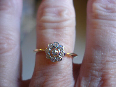 Antique Daisy 18ct & Platinum Open Work Old Cut Diamond  Ring Val $1750