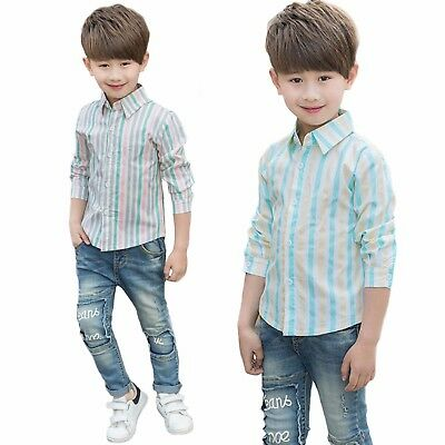 Boys Long Sleeve Colourful Stripe Casual Shirt Age 4 - 7 Years
