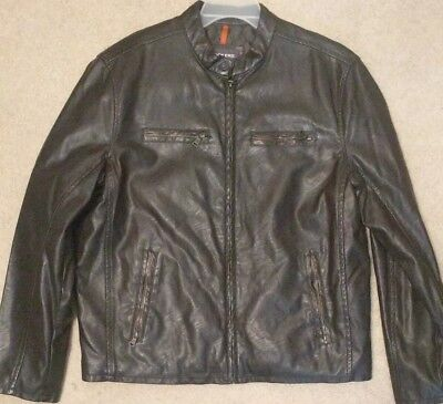 BNWT New Mens Dockers Soft Cowhide Moto Leather Jacket Black and Brown Large-XXL