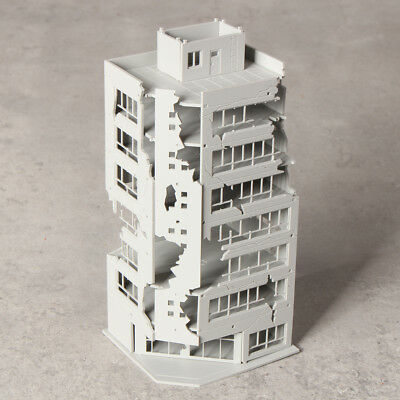 N Scale 1/144 White Damaged Ruined Building after War GUNDAM Scene 6.7*6.9*15cm