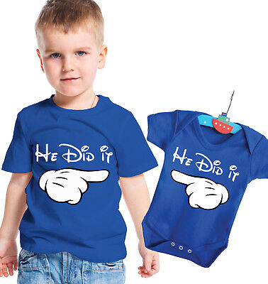 Disney inspired big brother t-shirt and baby brother body grow set He did it