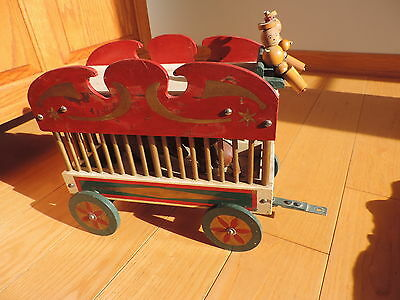 Vtg Circus Animal Wagon American Folk Art Handmade Wood Pull Toy Celluloid Bear