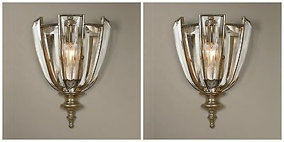 "Pair 13"" Vicentina Metal Electric Wall Sconce Light French Beveled Crystal"