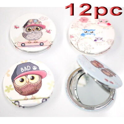 12pc Wholesale Owl Round Pocket Makeup Cosmetic Compact Mirror Mixed Pattern