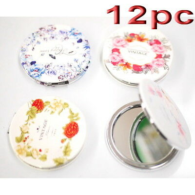 12pc Wholesale Vintage Rose Round Pocket Makeup Cosmetic Compact Mirror Mixed