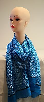 SPORTSCRAFT Toni Tile silk long scarf royal blue-peacock in colour new with tag