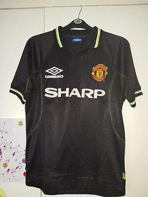 Rare Vintage Manchester United Black 2nd Away Shirt 1998 99 size medium / youth